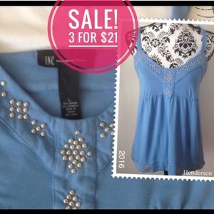 ♦️3/$21 Periwinkle blue silver studded camisole